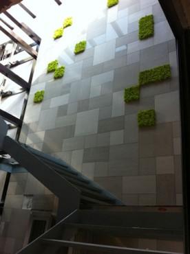 tiled external building wall