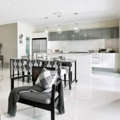 tiled living room and kitchen area