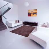 white living room tiles